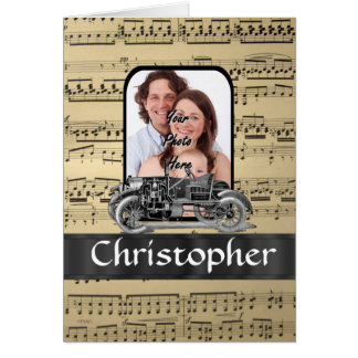 Vintage auto and music sheet card