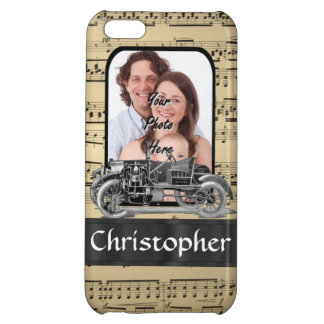 Vintage auto and music sheet case for iPhone 5C