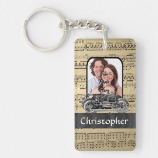 Vintage auto and music sheet key ring