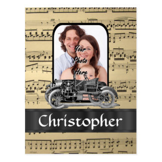 Vintage auto and music sheet postcard