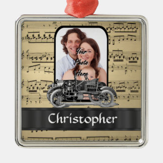 Vintage auto and music sheet Silver-Colored square decoration
