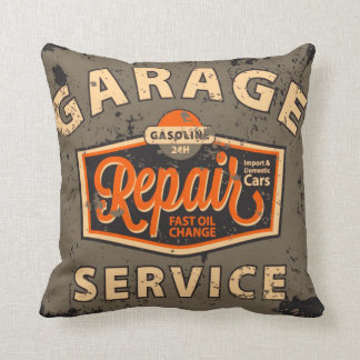 Vintage Auto Design Pillow Service Station