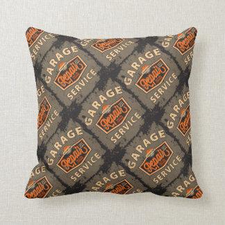 Vintage Auto Design Pillow Service Station Throw Cushion