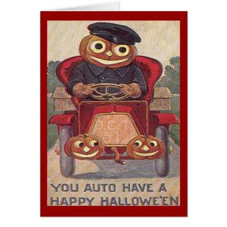 Vintage Auto Halloween Card