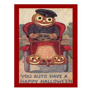 Vintage Auto Halloween Post Card