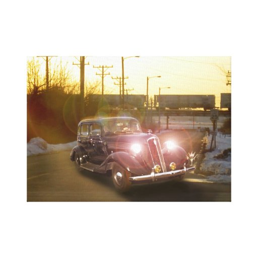 Vintage Auto Wrapped Canvas Stretched Canvas Print