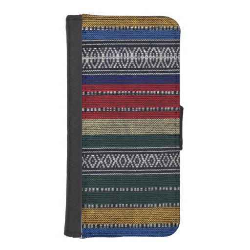 Vintage Aztec Tribal Andes Pattern Fabric Look iPhone 5 Wallet Case