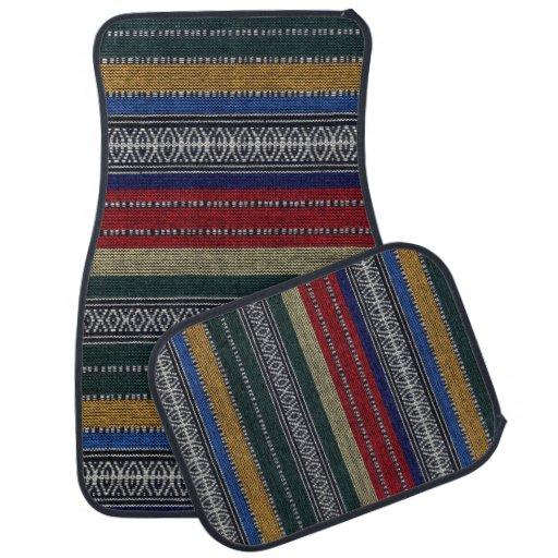 Vintage Aztec Tribal Andes Pattern Fabric Look Floor Mat