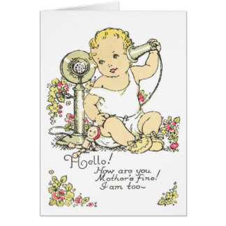 Vintage Baby Birth Announcement Greeting Card