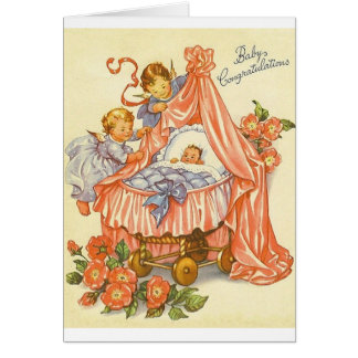 Vintage Baby Congratulations Greeting Card