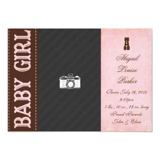 Vintage Baby Girl Birth Announcement