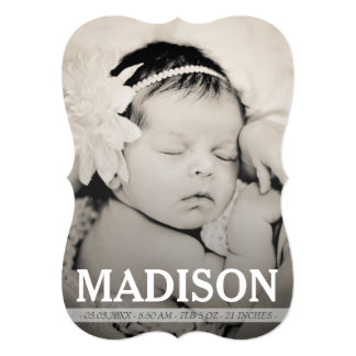 Vintage Baby Girl Birth Announcement Photo Card