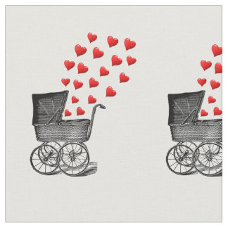 vintage baby pram and red love hearts fabric