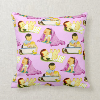 Vintage Baby Shower for Baby Girl Throw Pillow