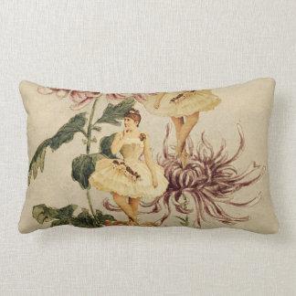 Vintage Ballerina  Flower Collage Lumbar Cushion