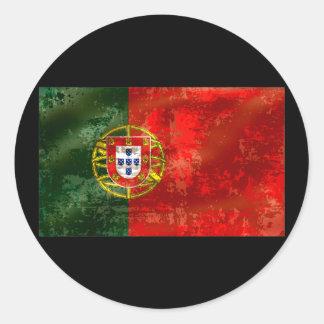 Vintage Bandeira Portuguesa por Fás de Portugal Classic Round Sticker