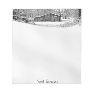 Vintage Barn in Fresh Snow - Text Template Notepad