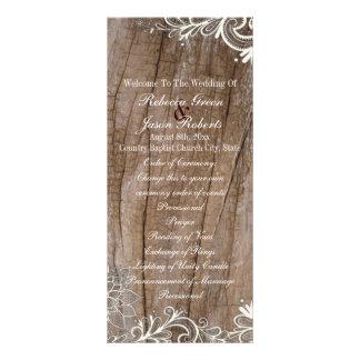 vintage barn wood  lace country wedding programs rack card