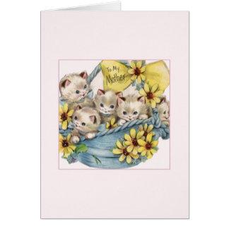 Vintage Basket of Kittens Mother's Day Card
