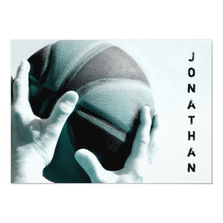 Vintage Basketball Bar Mitzvah Card