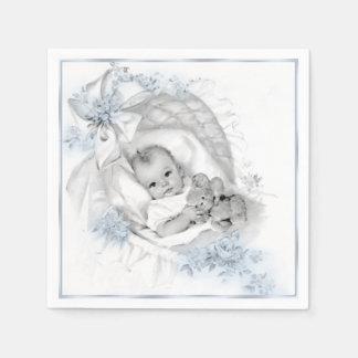 Vintage Bassinet Baby Boy Shower Paper Napkin