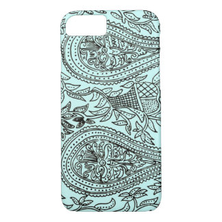 Vintage Batik Textile Wallpaper Pattern, Blue iPhone 8/7 Case