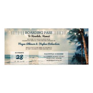 Vintage Beach Wedding Boarding Pass Ticket Wedding Card