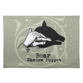 Vintage Bear Hand Puppet Shadow Games Placemat