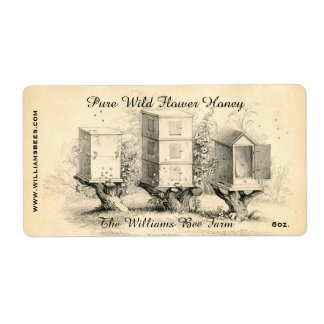 Vintage Bee Hives Honey Jar Label Shipping Label