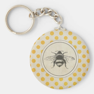 Vintage Bee on Yellow Dots Basic Round Button Key Ring