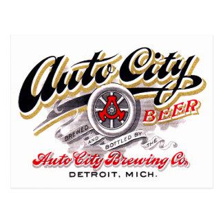 Vintage Beer Logo Label Auto City Beer Detroit Postcard