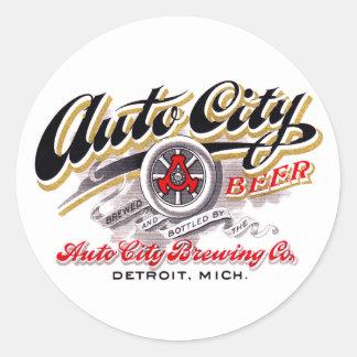 Vintage Beer Logo Label Auto City Beer Detroit Round Sticker