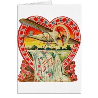 Vintage Bi-Plane Over Waterfall Valentine Card