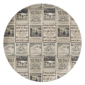 Vintage Bicycle Advertising Collage Retro Dinner Plates