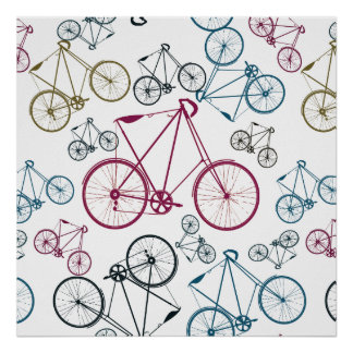 Vintage Bicycle Pattern Gifts for Cyclists Poster