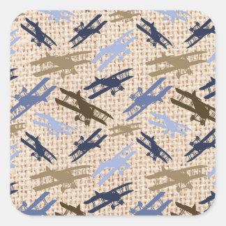 Vintage Biplane Burlap Print Airplane Pattern Square Sticker