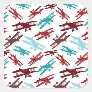 Vintage Biplane Pattern Airplane Aviator Gifts Square Sticker