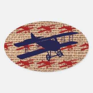 Vintage Biplane Propeller Airplane on Burlap Print Oval Sticker