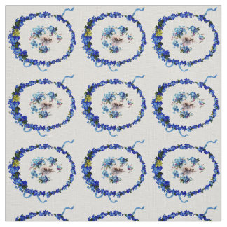 vintage bird and wreath design fabric