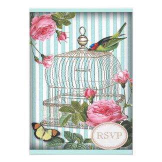 Vintage Bird, Cage, Butterfly & Roses RSVP Custom Invitations