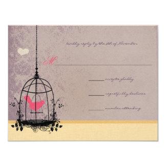 "Vintage Bird Cage Eggplant  Wedding Invitations 4.25"" X 5.5"" Invitation Card"