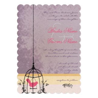 Vintage Bird Cage Eggplant  Wedding Invitations