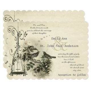 Vintage Bird Cage Love Bird Weddings 13 Cm X 18 Cm Invitation Card
