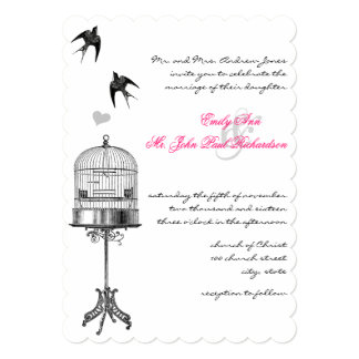 "Vintage Bird Cage Pink Accents Wedding Invitations 5"" X 7"" Invitation Card"