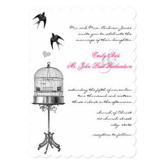Vintage Bird Cage Pink Accents Wedding Invitations