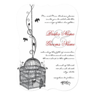 Vintage Bird Cage Red Accents Wedding Invitations