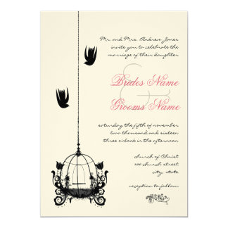 "Vintage Bird Cage Red Accents Wedding Invitations 5"" X 7"" Invitation Card"