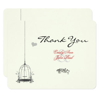 Vintage Bird Cage Red Accents Wedding Thank You 11 Cm X 14 Cm Invitation Card