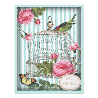 Vintage Bird, Cage & Roses Save the Date Wedding Custom Invitations