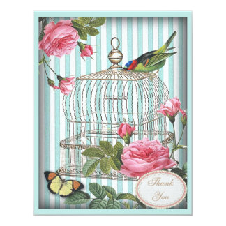 Vintage Bird, Cage & Roses Thank You Wedding 4.25x5.5 Paper Invitation Card